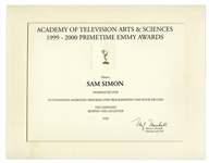 Emmy Nomination for The Simpsons Given to Sam Simon in 2000 -- From the Sam Simon Estate