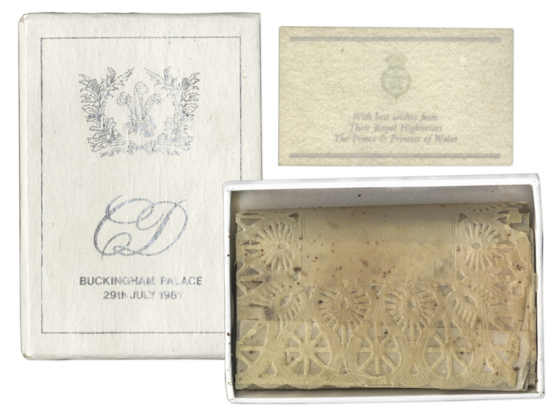 Princess Diana and Prince Charles Wedding Cake Slice -- In Original Presentation Box
