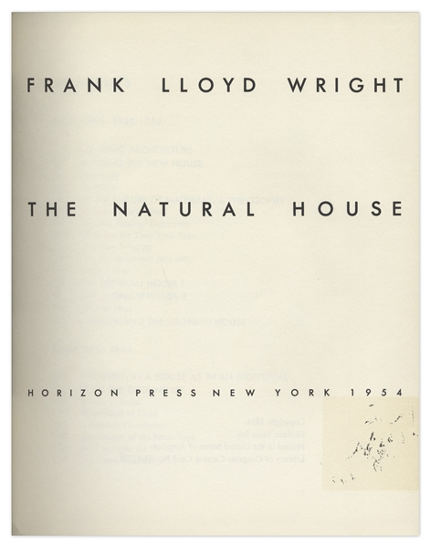 Frank Lloyd Wright Signed First Edition of ''The Natural House''