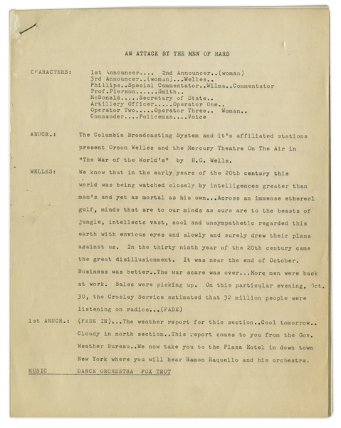Original ''War of The Worlds'' Radio Broadcast Script Draft, as Read by Orson Welles in 1938 -- This Broadcast Famously Caused Mass Panic of an Alien Landing