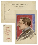 Enrico Caruso Original Watercolor Painting -- With LOA From Enrico Caruso, Jr.
