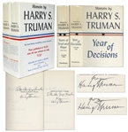 Harry Truman Signed 2 Volume Set of His Memoirs -- Each Volume Signed in Near Fine Condition