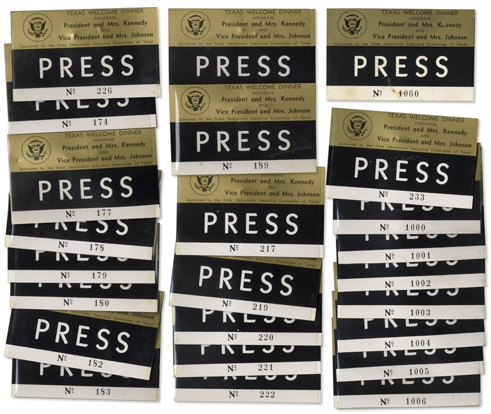 Lot of 25 Press Badges for President Kennedy's Texas Welcome Dinner, Slated for the Night He Was Assassinated