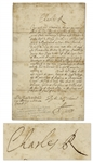 King Charles II Restoration Period Letter Signed
