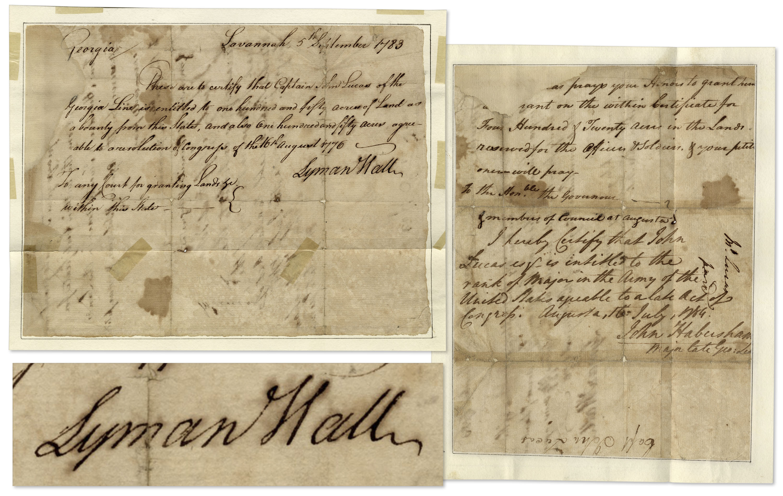 Lyman Hall Autograph