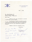 George H.W. Bush Letter Signed as Vice President With Autograph Note -- I am on the road so much I cant even remember all the stops