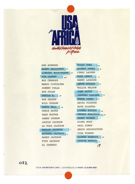 Historic ''USA for Africa'' Poster Signed by 18 Musical Artists From the 1985 Charity Single ''We Are The World'' -- Including Michael Jackson & Billy Joel -- With Epperson COA