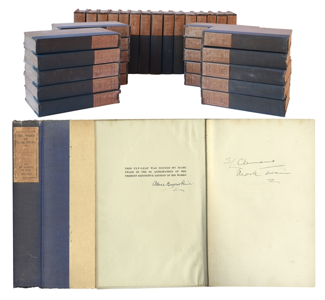 Mark Twain First Edition Mark Twain Signed ''The Works of Mark Twain'' -- Complete 35 Volume Set, Signed Both ''S.L. Clemens / Mark Twain'' in the First Volume