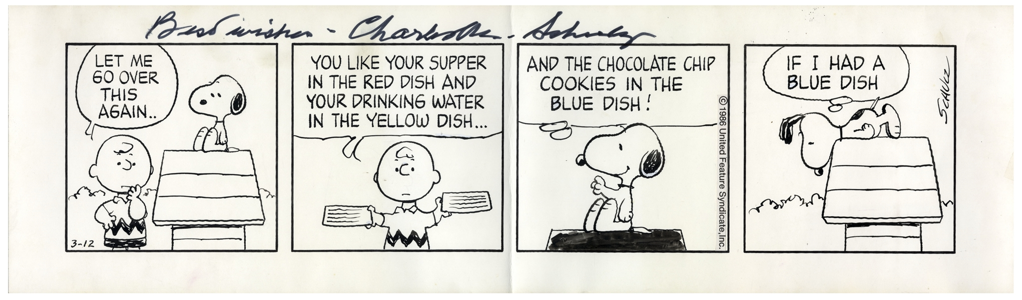 Charles Schulz Hand-Drawn ''Peanuts'' Comic Strip From 1986 -- Charlie Brown & Snoopy Negotiate His Treats