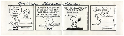 Charles Schulz Hand-Drawn Peanuts Comic Strip From 1986 -- Charlie Brown & Snoopy Negotiate His Treats