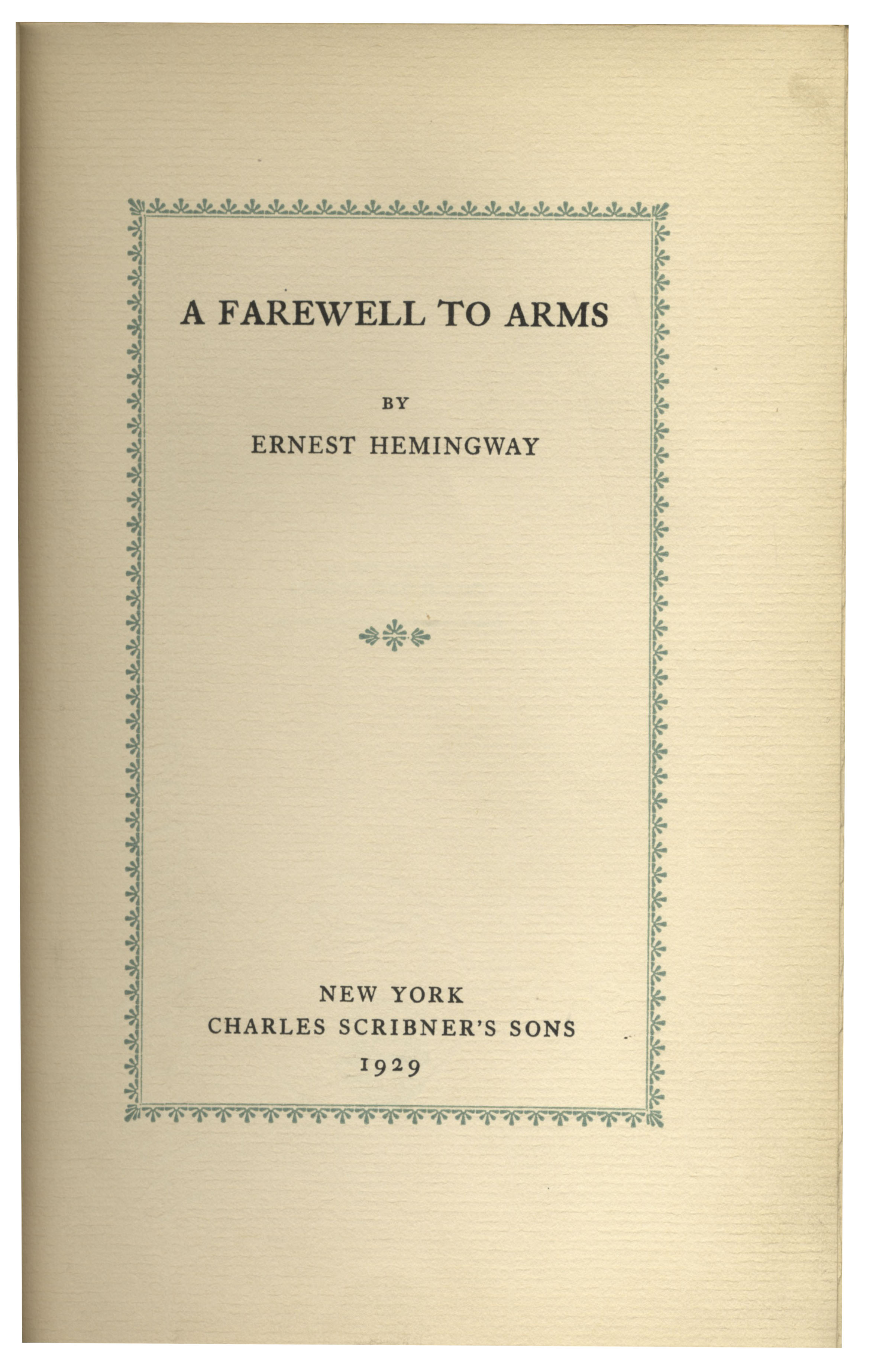 essay on a farewell to arms by ernest hemingway A farewell to arms is an autobiographical novel written between 1899 and1961 by ernest hemingway and first published in 1929the novel was written through a view point of lieutenant frederic henry, an american who serves as an ambulance driver in the italian army during the first world's war.