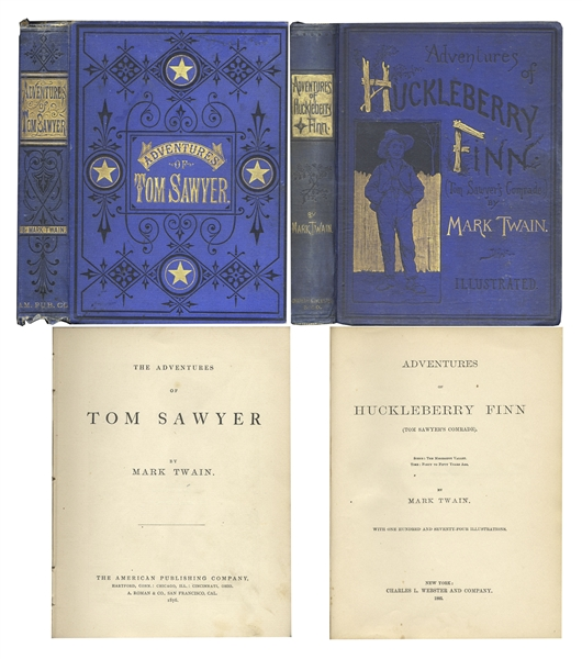 Mark Twain First Edition Attractive First Edition Set of Mark Twain's ''Adventures of Tom Sawyer'' & ''Adventures of Huckleberry Finn'' -- Both Bound in Publisher's Blue Cloth