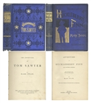 Attractive First Edition Set of Mark Twains Adventures of Tom Sawyer & Adventures of Huckleberry Finn -- Both Bound in Publishers Blue Cloth