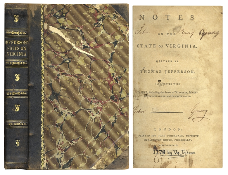 President Signed Book Thomas Jefferson's 1st U.K. Edition of ''Notes on the State of Virginia'' -- From 1787