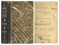 Thomas Jeffersons 1st U.K. Edition of Notes on the State of Virginia -- From 1787