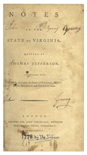 Thomas Jefferson's 1st U.K. Edition of ''Notes on the State of Virginia'' -- From 1787