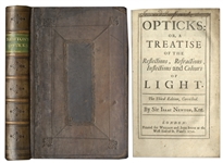 Isaac Newton 1721 Edition of His Highly Influential Opticks -- The Last Edition Published in Newtons Lifetime