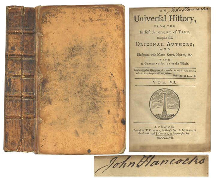 Extremely Rare John Hancock Signed Book, From His Library -- One of Only a Handful of Signed Books From Hancock's Library Sold at Auction