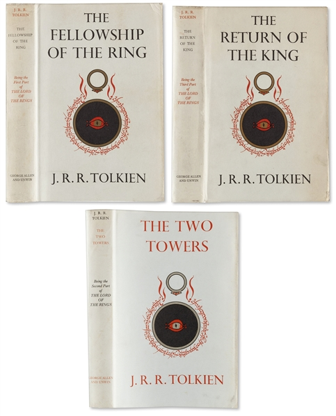First Edition Set of Tolkien's ''Lord of the Rings'' -- ''Fellowship of the Ring'' & ''Return of the King'' Are First Printings; ''Two Towers'' Is Second Printing -- All Three Are Near Fine