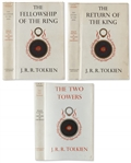 First Edition Set of Tolkiens Lord of the Rings -- Fellowship of the Ring & Return of the King Are First Printings; Two Towers Is Second Printing -- All Three Are Near Fine