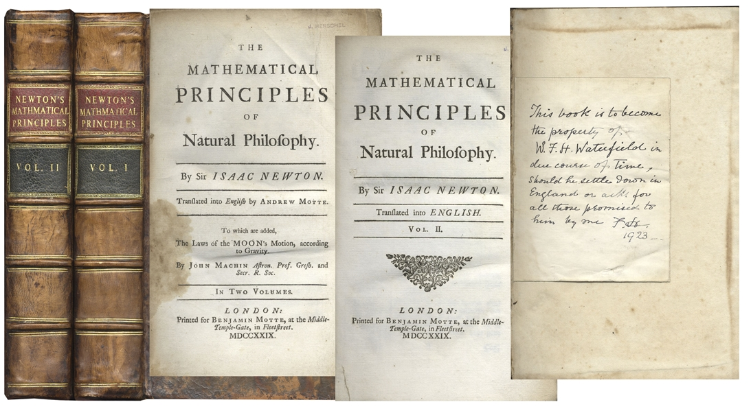 Isaac Newton first edition Rare First Edition of Sir Isaac Newton's ''The Mathematical Principles of Natural Philosophy'' -- Two Volume Set From 1729
