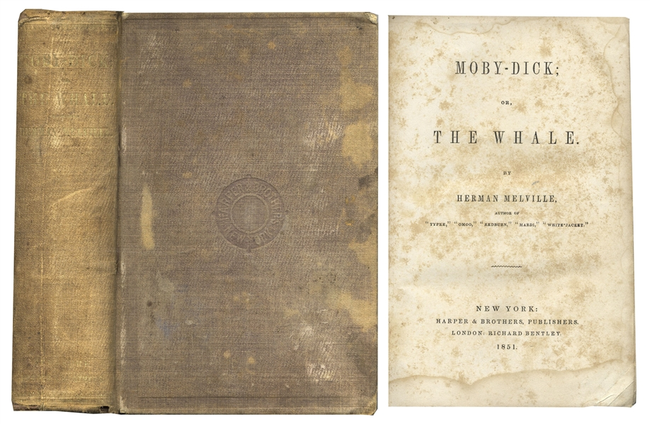 Moby Dick first edition Herman Melville First U.S. Edition of the Classic ''Moby Dick'' -- In Original Binding