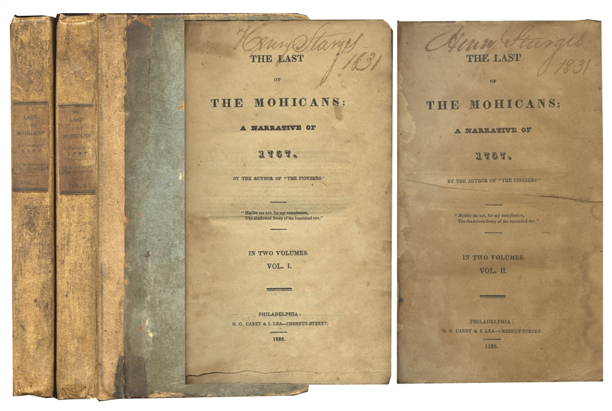 James Fenimore Cooper's ''Last of the Mohicans'' First Edition -- Scarce in Original Boards