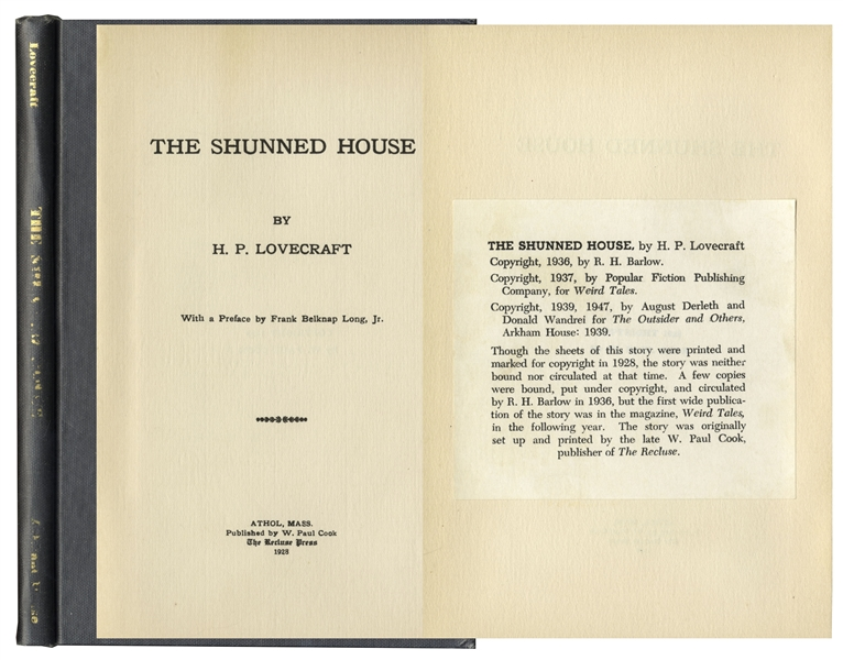 HP Lovecraft First Edition H.P. Lovecraft Printing of ''The Shunned House'' From 1928 -- One of Only 100 Printed Copies Subsequently Printed by Arkham House, With ''Canterbury'' Watermark -- Scarce