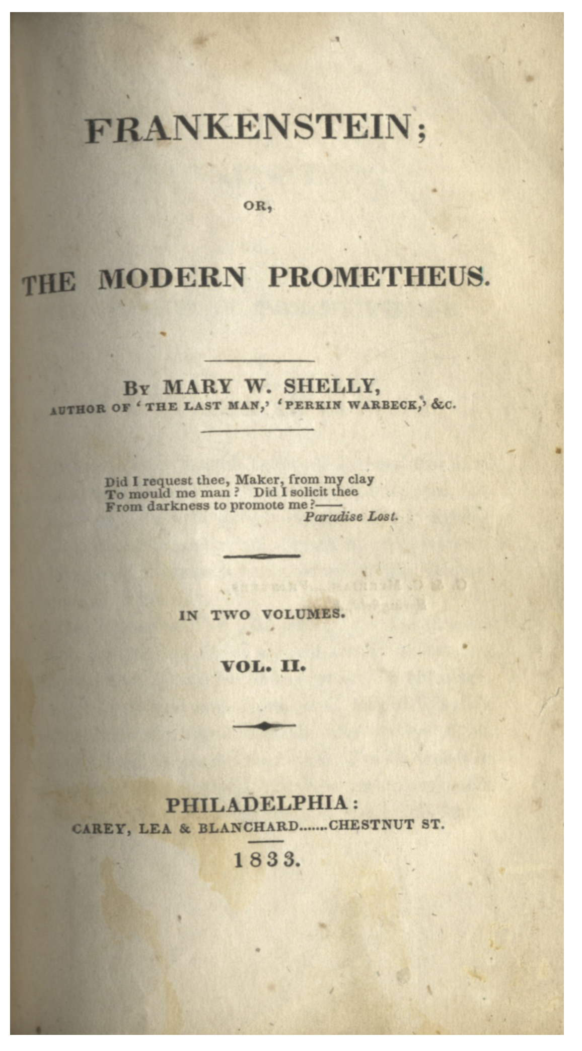 True First US Edition Of Frankenstein By Mary Shelley