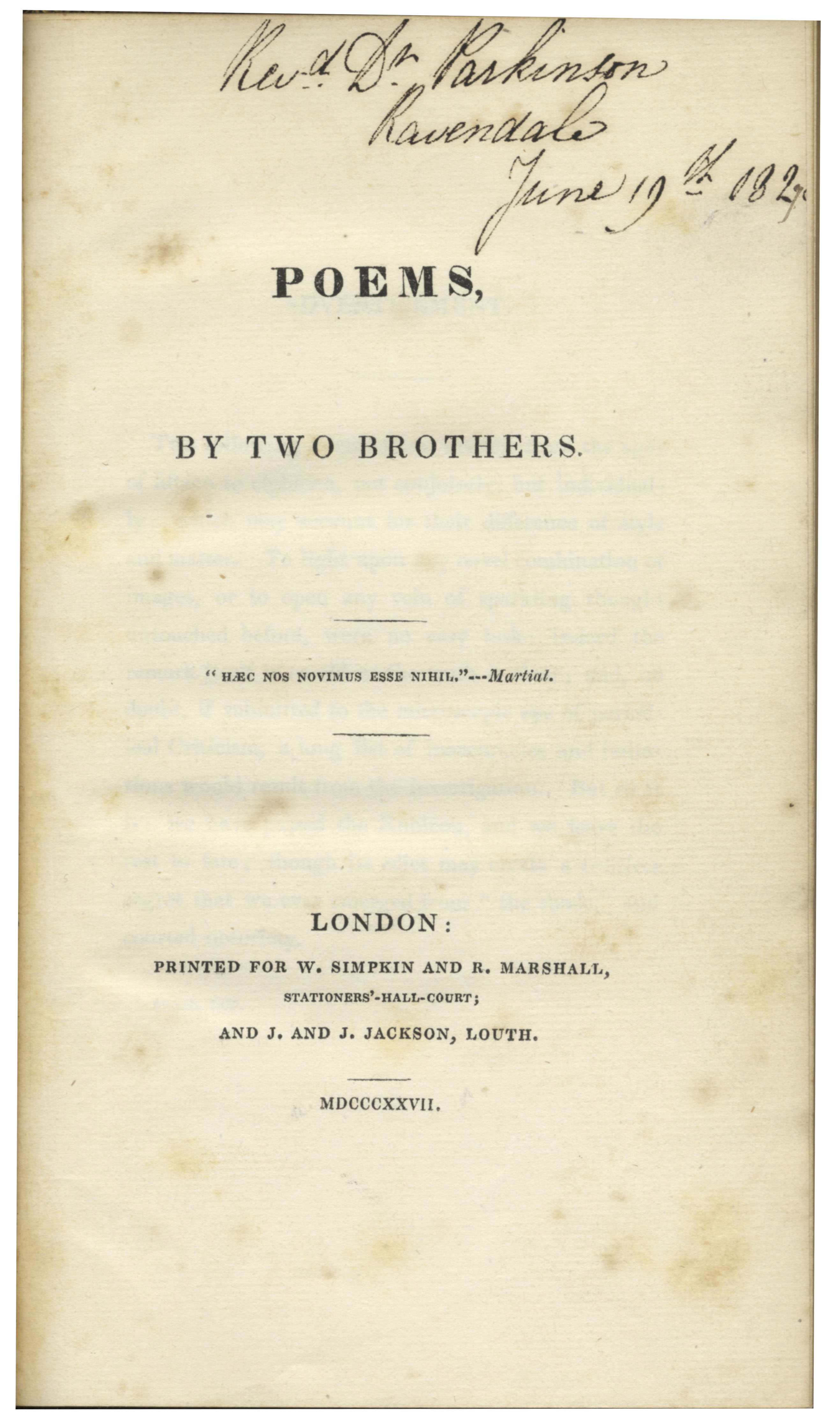 Lot Detail Lord Alfred Tennysons Poems By Two Brothers