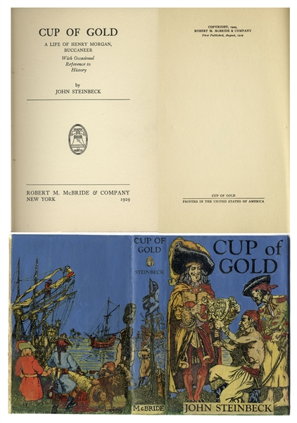 John Steinbeck first edition ''Cup of Gold'' First Edition -- In Scarce First Edition Dust Jacket