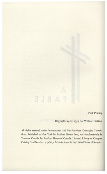William Faulkner Signed First Edition of ''A Fable'' -- In Original Acetate Wraps & Slipcase