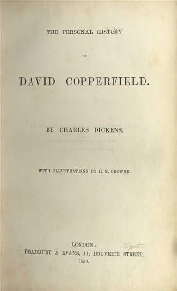 ''David Copperfield'' First Edition, First Printing by Charles Dickens