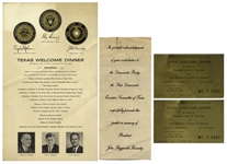 Lot of Items From the Texas Welcome Dinner That President John F. Kennedy Was to Attend the Night of His Assassination
