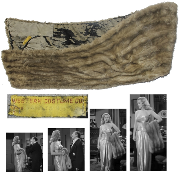 Marilyn Monroe Mink Stole With Western Costume Co. Provenance -- Likely Screen-Worn by Marilyn in the Marx Bros. Film ''Love Happy''