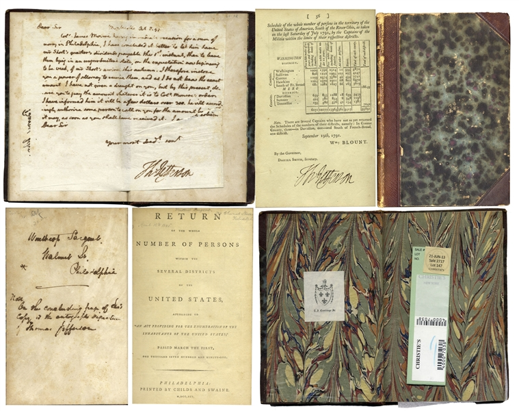 Charles Darwin On the Origin of Species 1st First Edition Thomas Jefferson Scarce Signed 1st Edition of the First U.S. Census -- One of Only a Handful Signed & Ratified by Jefferson
