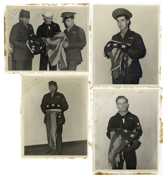 Iwo Jima Memorabilia Lot of Four 8'' x 10'' Signed Photos of the Iwo Jima Flag Raisers, John Bradley, Rene Gagnon & Ira Hayes -- From John Bradley's Estate