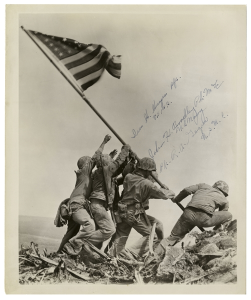 Iwo Jima Memorabilia Iwo Jima Flag Raisers 8'' x 10'' Signed Photo -- Signed by John Bradley, Ira Hayes & Rene Gagnon -- From John Bradley's Estate
