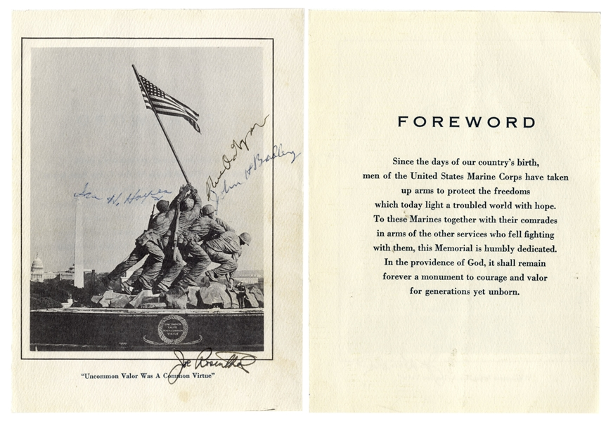 Iwo Jima Memorabilia Joe Rosenthal & the 3 Iwo Jima Flag Raisers Signed Photo of the U.S. Marine Corps Memorial