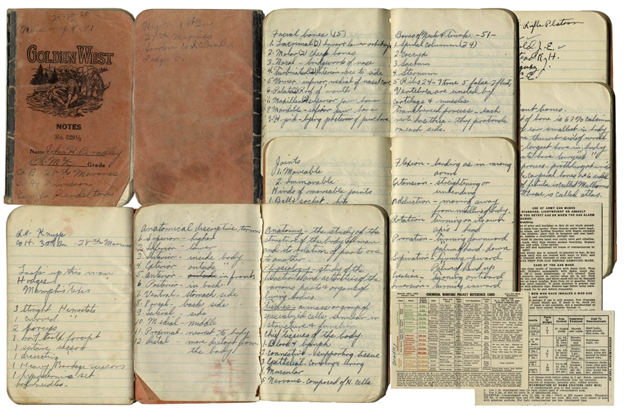 Iwo Jima Memorabilia Fascinating Booklet Signed & Handwritten by WWII Hero John Bradley -- Bradley Takes Medical Notes in His Role as Hospital Corpsman -- Includes His ''Chemical Warfare Pocket Reference Card''