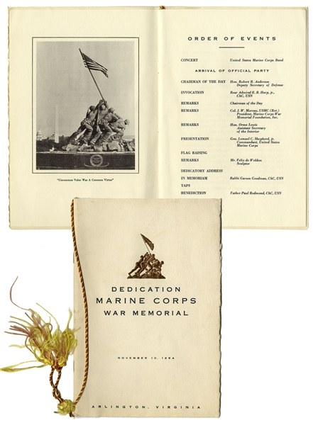 Iwo Jima Memorabilia Iwo Jima Hero John Bradley's Very Own Program for the 1954 Marine Corps War Memorial Dedication -- Memorial Is the Sculptural Representation of the Iwo Jima Flag Raising