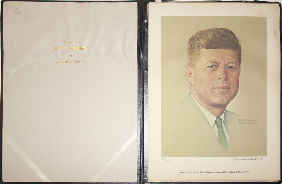 Norman Rockwell Signed Lithograph of JFK -- Appeared as the Cover of ''The Saturday Evening Post'' in 1960