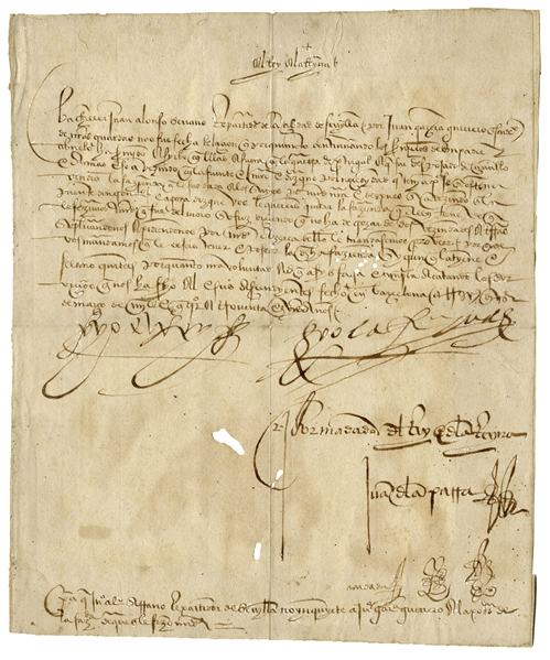 King Ferdinand and Queen Isabella Rare Signed Royal Decree From 1491 During Their Reign as King & Queen of Spain -- Regarding Land Dispute for a Soldier -- With COA From University Archives