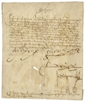 King Ferdinand and Queen Isabella Rare Signed Document From Their Reign as King & Queen of Spain -- Regarding Driving Out the Moors in Southern Spain -- With a COA From University Archives