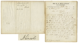 Outstanding Abraham Lincoln Autograph Endorsement Signed as President -- Regarding the 1864 Confederate Treason Trials in Indiana