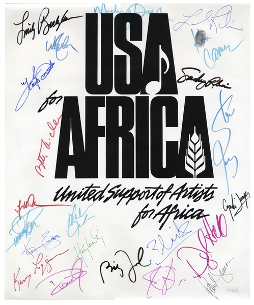 Historic USA for Africa Poster Signed by 22 Musical Artists From the 1985 Charity Single We Are The World -- Including Michael Jackson & Paul Simon