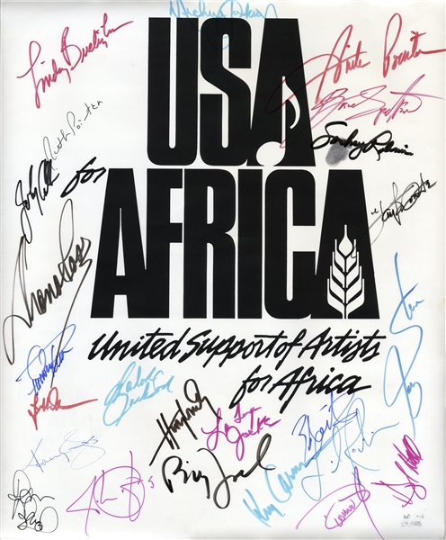 Historic USA for Africa Poster Signed by 24 Musical Artists From the 1985 Charity Single We Are The World -- Including Bruce Springsteen & Michael Jackson