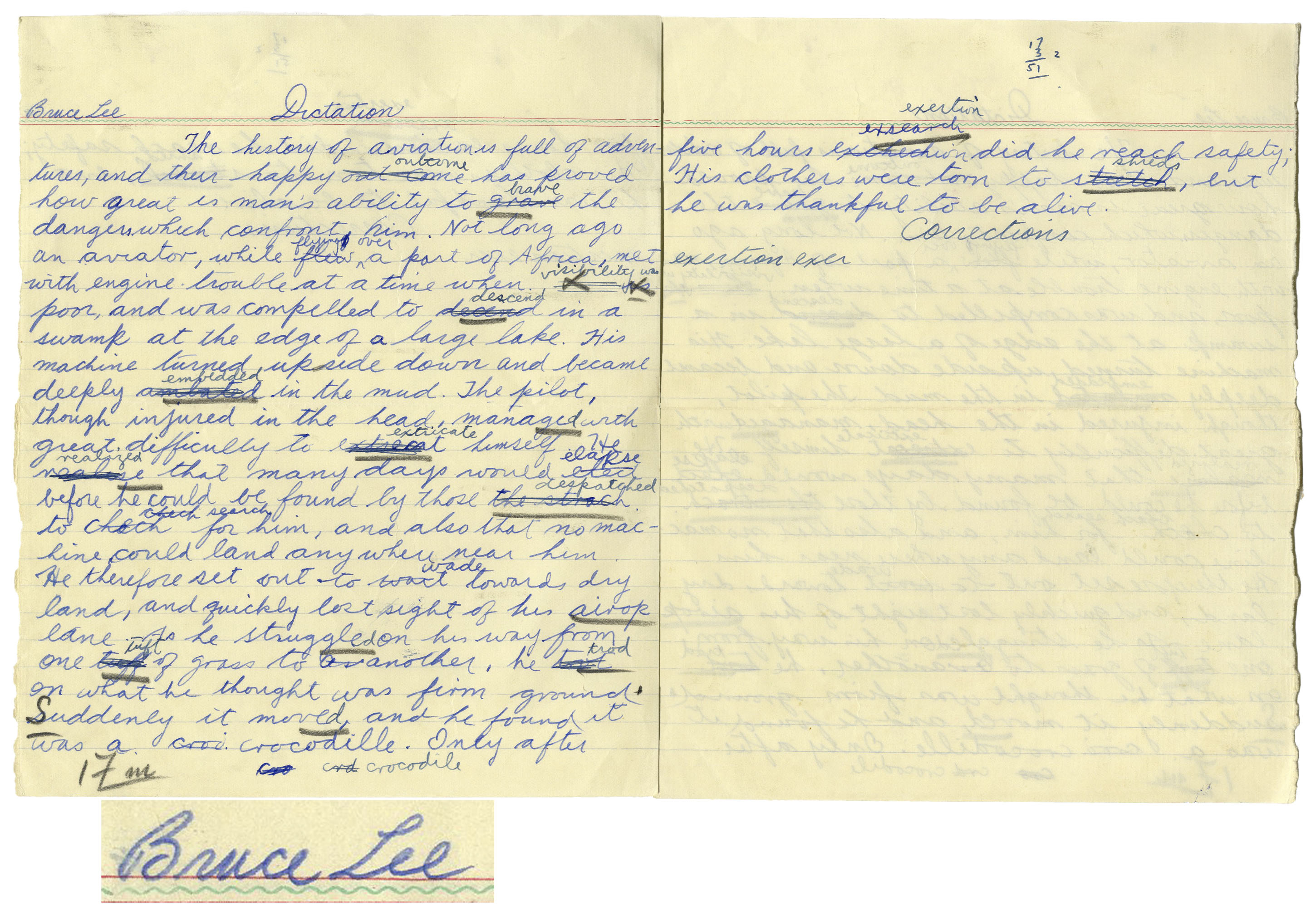 lot detail bruce lee personally owned signed handwritten essay bruce lee personally owned signed handwritten essay from high school
