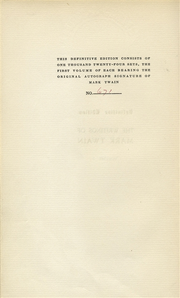 Mark Twain Signed ''The Works of Mark Twain'' -- Signed Both ''S.L. Clemens / Mark Twain'' in the First Volume