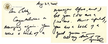 George W. Bush Autograph Letter Signed as President -- ...I bet you still are a live one...